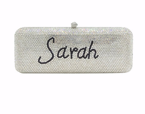 Customize Name Letters Fully Crystal Women Metal Evening Clutches