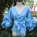 Puff Sleeve Blouse with Belt