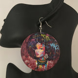 African American Woman Wooden Earrings