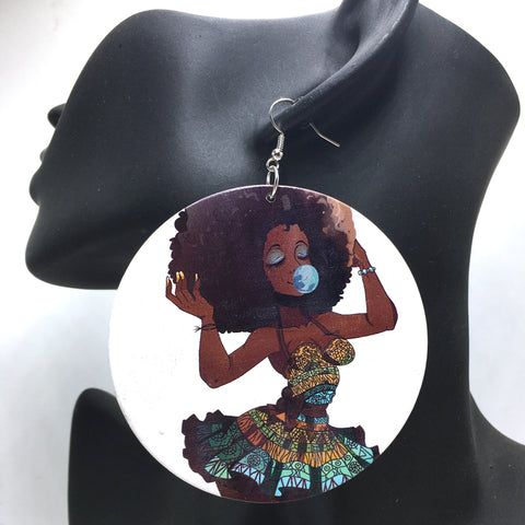 African Woman Queen Wooden earrings
