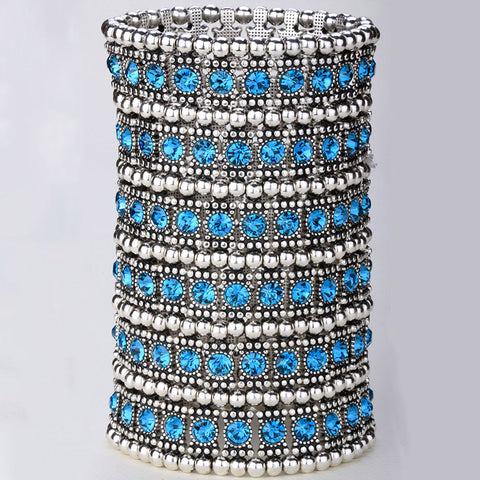 Multilayer stretch cuff bracelet women crystal wedding bridal fashion