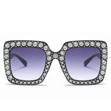 Peekaboo rhinestone sun glasses for women luxury brand black pink oversized sunglasses square frame big uv400