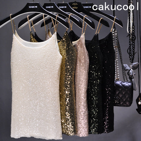Cakucool Lurex Sequined Camis Tank Top