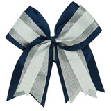 2Pcs Big 8'' Cheerleading Hair Bows With Elastic Bands Navy Grosgrain Cheer Bows With Gold Silver Organza For Hair Accessories