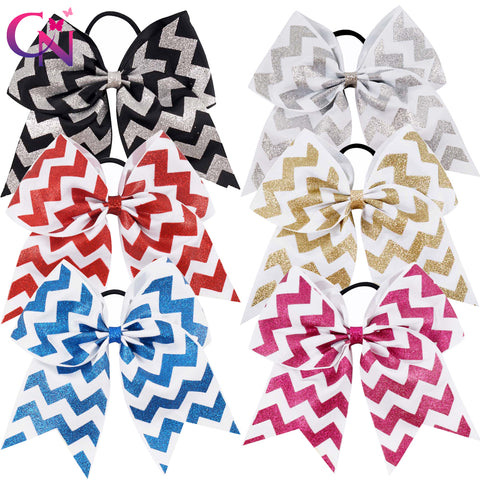 "12 Pcs/lot 7"" Glitter Printed Ribbon Chevron Cheer Bow With Elastic For Kids Girls Teens Striped Hairband Hair Accessories"