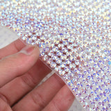Crystal AB Rhinestones Mesh Trim Bridal Beads Hotfix Strass Roll Applique