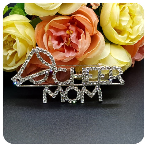 "Bling Brooch Jewelry for mother's day Gift ""CHEER MOM"" Word Pin with a Megaphone"