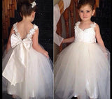 Flower Girl Princess Dress Kid Party Pageant Wedding Bridesmaid Tutu BALL Bow White Dress 2 4 6 8 10 12 Years
