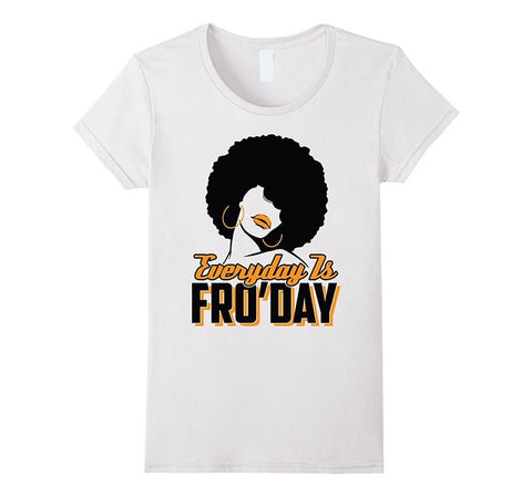 Everyday Is Fro'Day: Afro T-shirt for Women Summer Casual Cotton Tops Tees Fashion Cotton Casual T Shirt Round Neck