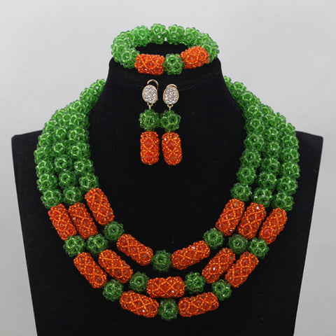 Exclusive Orange African Wedding Necklace Set
