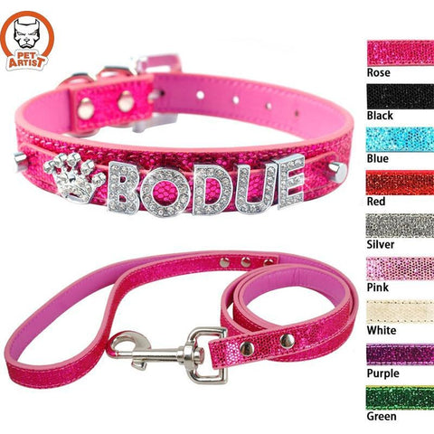 Bling Personalized Leather Small Dog Collar Leash - BlingThatSingsBoutique