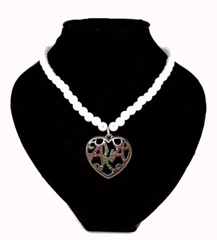 Alpha Kappa  Alpha Sorority Crystal & Pearl Necklace  heart AKA neckalce