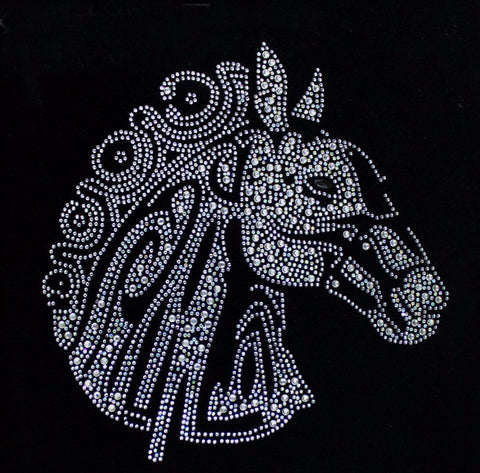 1pcs/1Lot Wholesale Horse Head -2  Rhinestone Diamante Transfer Iron On Hotfix  Gem Crystal  Motif Patch  Bling