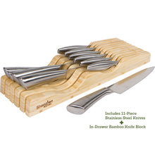 Knife Set - 11pc Stainless Steel Knife Set With In-Drawer Bamboo Knife Block