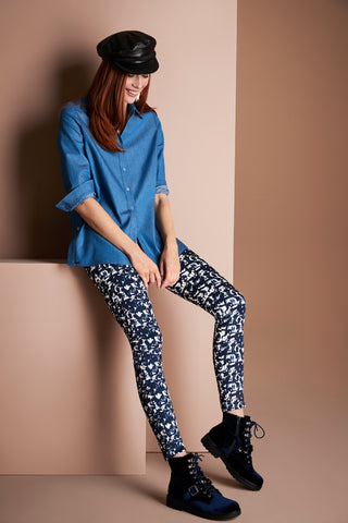 41555 Slim Ankle BLUE CHROME PRINT -  - Pants - Lisette L Montreal Australia - The Rarity Group