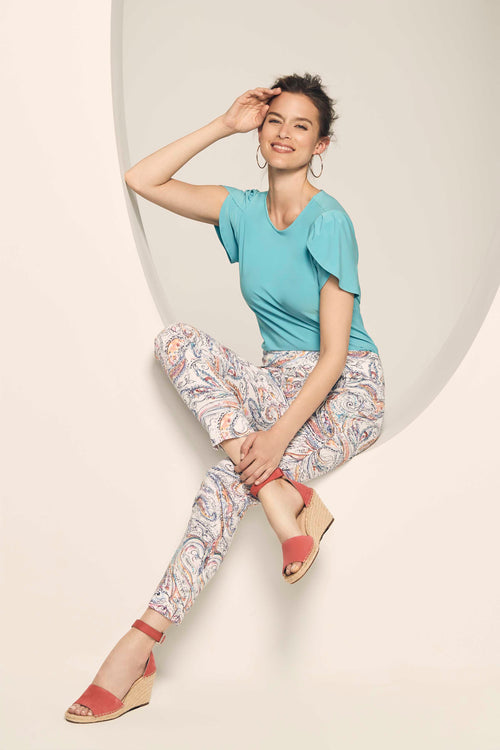63155 Slim Ankle CORAL REEF JACQUARD -  - Pants - Lisette L Montreal Australia - The Rarity Group