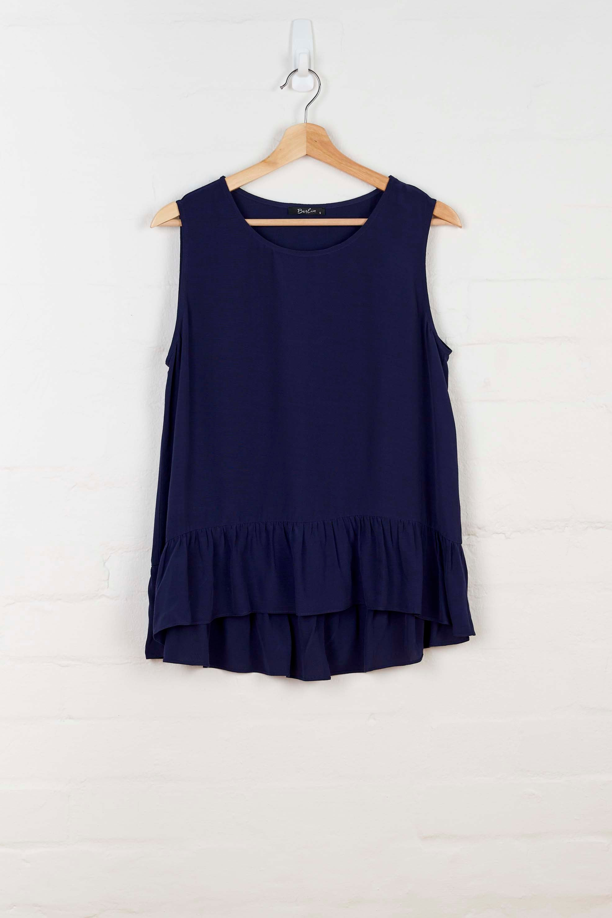 B1001 Ruffled Hem Tank - Navy - Tank - BERLIN - The Rarity Group