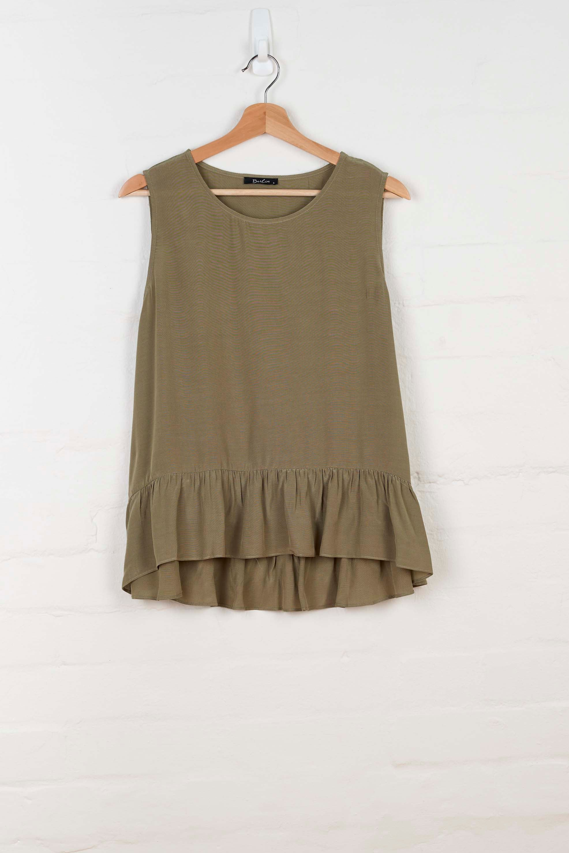B1001 Ruffled Hem Tank - Moss Green - Tank - BERLIN - The Rarity Group
