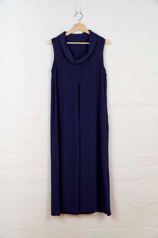 B1054 Cowl Neck Dress - Navy - Dress - BERLIN - The Rarity Group