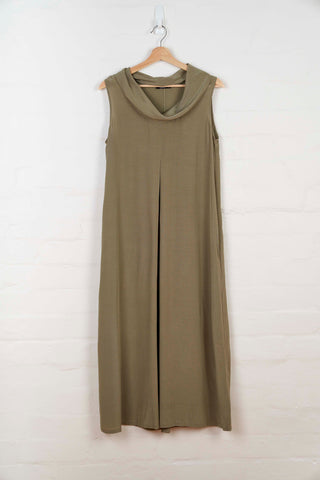 B1054 Cowl Neck Dress - Moss Green - Dress - BERLIN - The Rarity Group