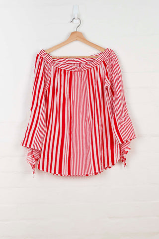 B1072 Off Shoulder Striped Top -  - Top - BERLIN - The Rarity Group