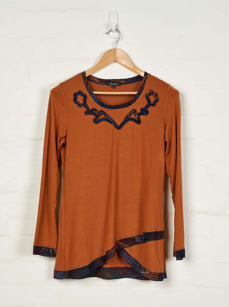 B1526 L/S Embroidered Tee -  - Top - BERLIN - The Rarity Group