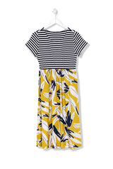 B811 Stripe/Print Combo Dress
