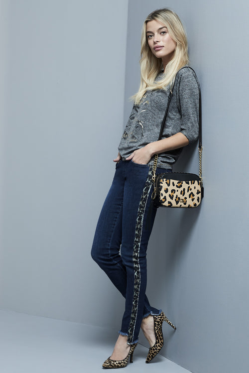 455602 Slim BETTY DENIM w/ LEOPARD -  - Pants - Lisette L Montreal Australia - The Rarity Group