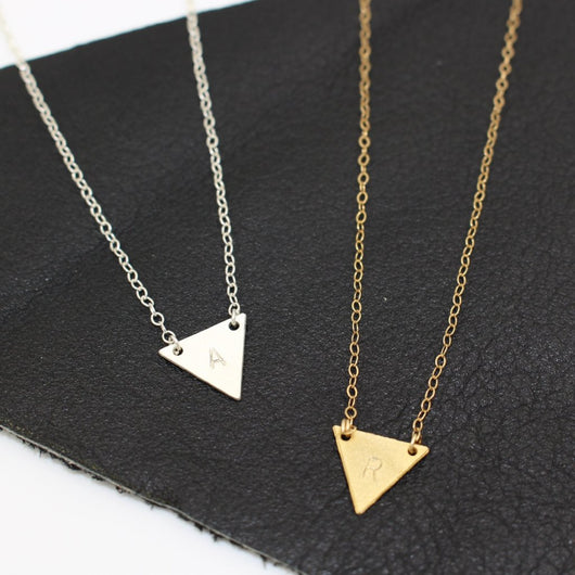 TRIANGLE INITIAL NECKLACE (PERSONALIZE)