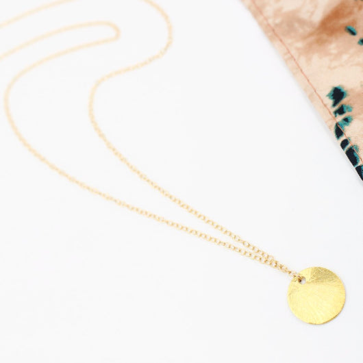 LONG BRUSHED DISC NECKLACE