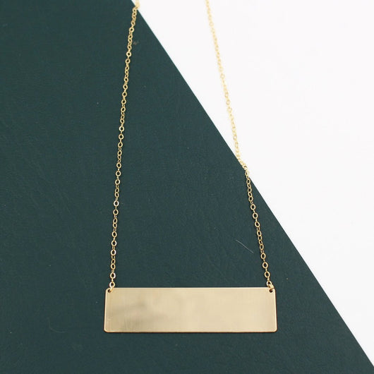 LARGE GOLD BAR NECKLACE