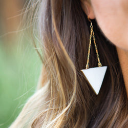TRIANGLE STONE EARRINGS