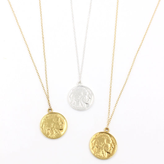 layered coin necklace silver or gold