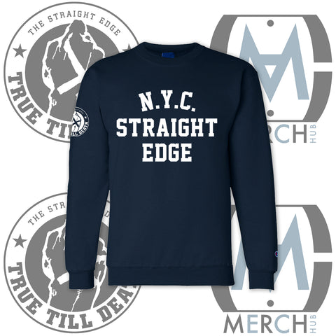 """NYC Straight Edge"" Navy Champion Crewneck"