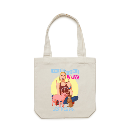 Funky vegan tote bag on going vegan and being kind towards animals