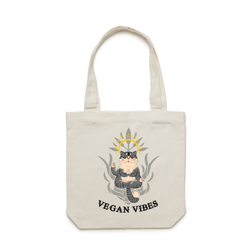 Vegan tote bag inspired by yoga, positive vibes, meditation and cats