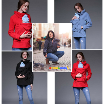 2 Plus 1 Baby Kangaroo Carrier Maternity Hoodie Jacket Coat For Mothers of Infants and Toddlers - 2 Plus 1 Baby