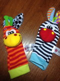 Baby Infant Wrist Strap Rattles Handbells & Animal Socks - 2 Plus 1 Baby