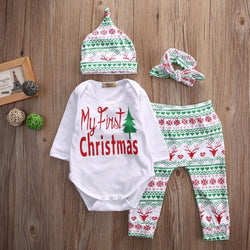 My First Christmas Infant Baby Boy Girl Outfits Clothes Romper Pants Leggings Hat Headband 4PCS Set Babies Clothes Free Shipping