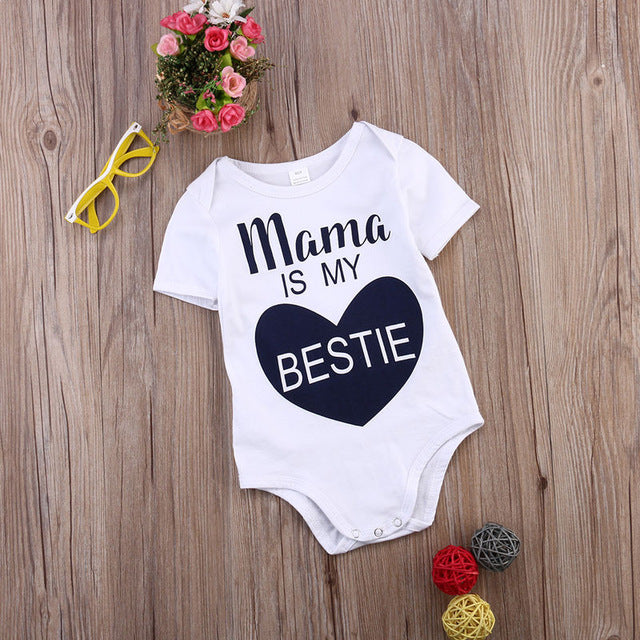 Newborn Kids Baby Infant Boy Girl Cotton Bodysuit Love Pattern Mama is My Bestie Jumpsuit Outfit Clothes Summer