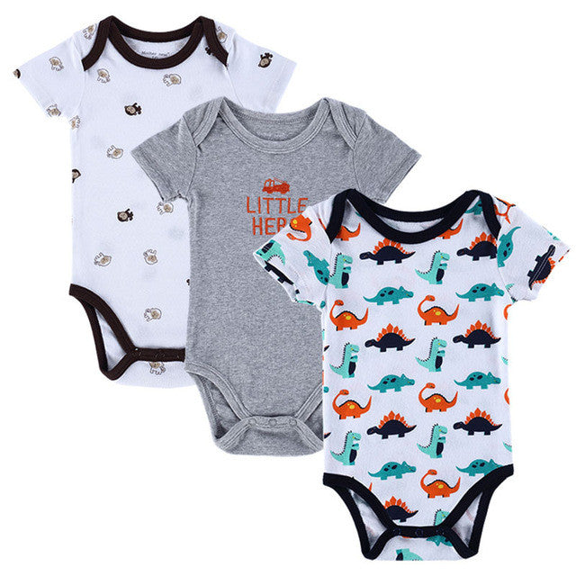 Baby Boy Girl Short Sleeve Print Rompers 3pcs Set