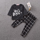 Like A Boss Long Sleeved T-shirt + Trousers Set - 2 Plus 1 Baby