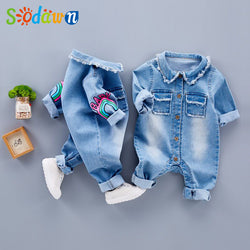 Sodawn 2017 Infant Clothes Unisex Baby Clothing Cute  Giraffe Rainbow Baby Long Sleeve Jumpsuits Suit Fashion Children Clothes