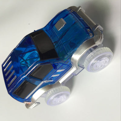 Expandable Glowing Car Racing Set for Kids - 2 Plus 1 Baby