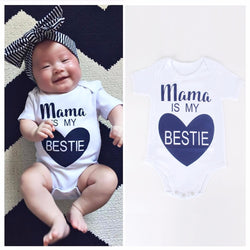 summer infant newborn rompers jumpsuit Clothes letter Print Cotton Boy girl short sleeve romper mama is my bestie Outfits