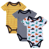 Baby Boy Girl Short Sleeve Print Rompers 3pcs Set - 2 Plus 1 Baby