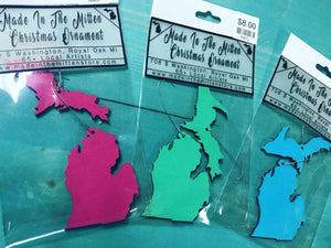 Michigan 2pc Wood Outline Christmas Ornament
