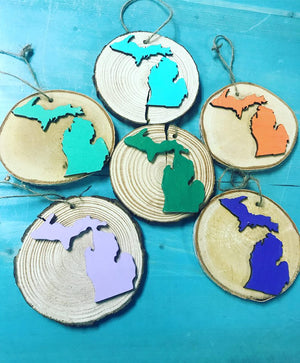 "Michigan 4"" Wood Slice Christmas Ornament"