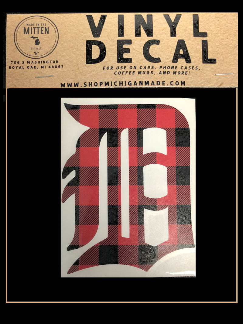 Buffalo Plaid / Asstd Colors Detroit D Car Decal