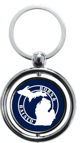 Michigan Born and Raised Spinner Key Chain